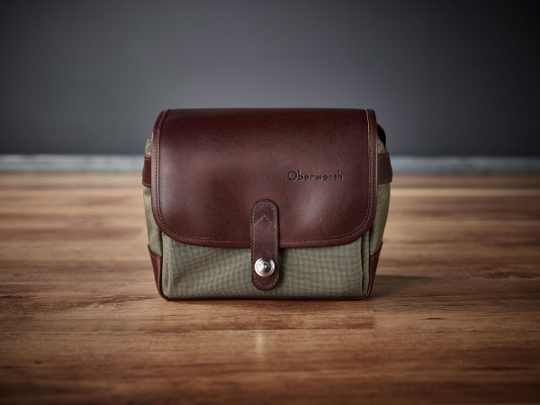 "Camera bag ""Frankfurt"" made by Oberwerth, Cordura olive, dark brown leather"