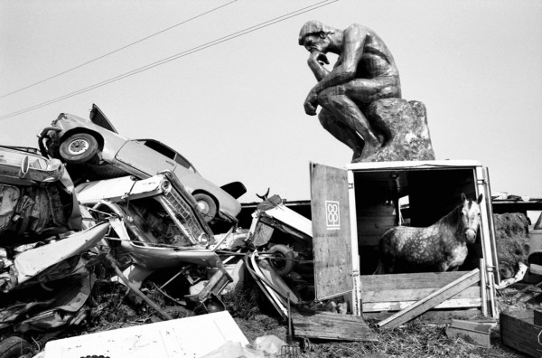 Régis Bossu ''Rodin's thinker thinks and the horse wonders'', Junkyard near Stuttgart, 1972