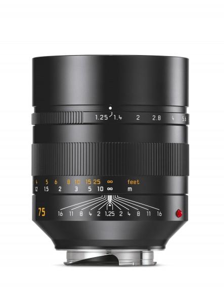 LEICA NOCTILUX-M 1:1,25/75mm ASPH., schwarz eloxiert