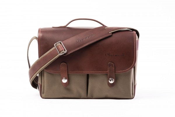 "Camera bag ""München"" made by Oberwerth, Cordura olive, dark brown leather"
