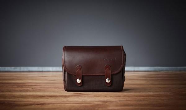 "Camera bag ""Freiburg"" made by Oberwerth, Cordura brown, dark brown leather"