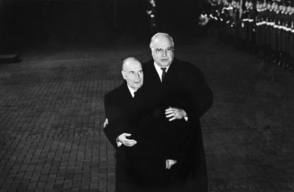 Régis Bossu ''French President François Miterrand (left) and Chancellor Helmut Kohl, 1994