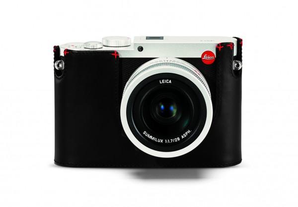 Leica Q Protektor, Leder, schwarz, mit rotem Handstich