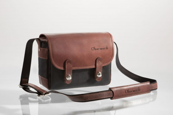 "Camera bag ""Freiburg"" made by Oberwerth, Cordura black, dark brown leather"