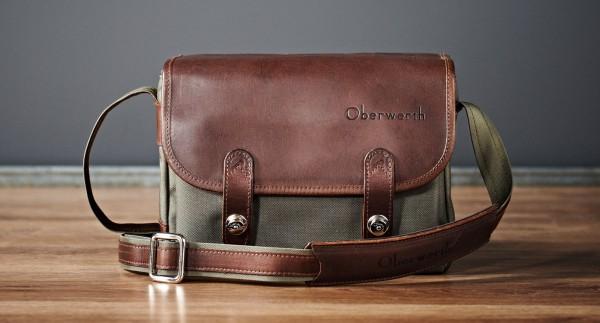 "Camera bag ""Freiburg"" made by Oberwerth, Cordura oliv, dark brown leather"