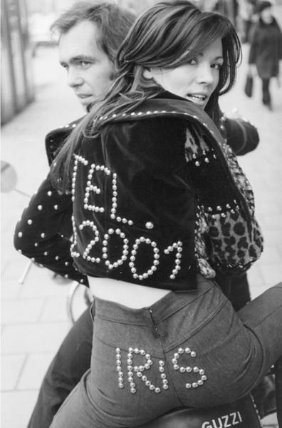 """Michael Friedel """"Iris Berben, Harry Lindmayr, Nietenmode, Sweetheart"""", München, 1975"""